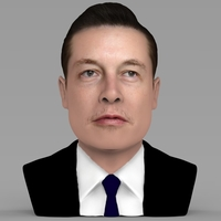 Small Elon Musk bust ready for full color 3D printing 3D Printing 230557
