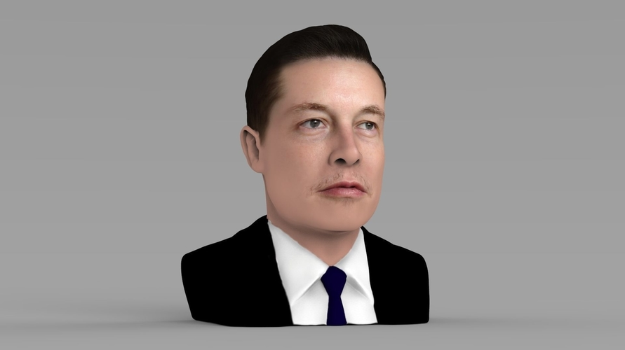 Elon Musk bust ready for full color 3D printing 3D Print 230563