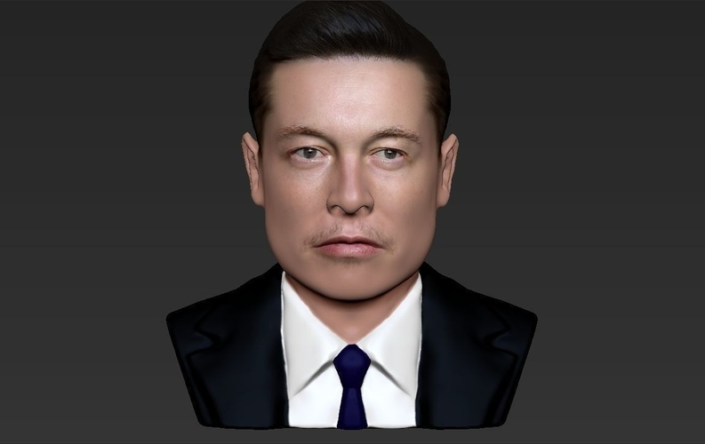Elon Musk bust ready for full color 3D printing 3D Print 230565