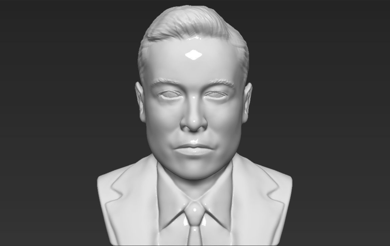 Elon Musk bust ready for full color 3D printing 3D Print 230567