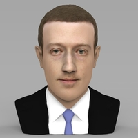 Small Mark Zuckerberg bust ready for full color 3D printing 3D Printing 230579