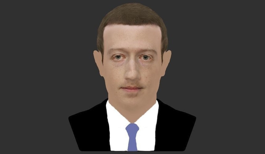 Mark Zuckerberg bust ready for full color 3D printing 3D Print 230589
