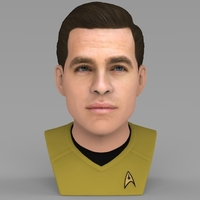 Small Captain Kirk Chris Pine Star Trek bust full color 3D printing 3D Printing 231041