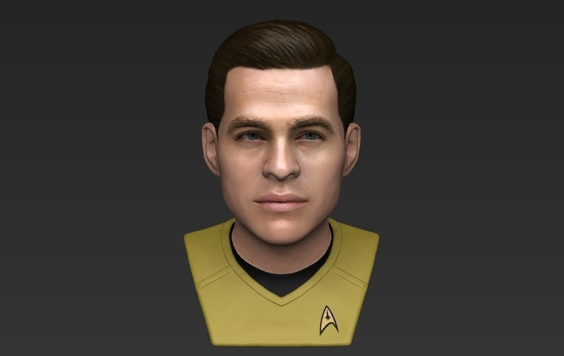 Captain Kirk Chris Pine Star Trek bust full color 3D printing 3D Print 231048