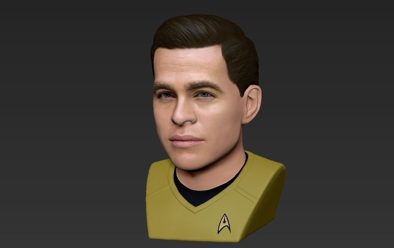Captain Kirk Chris Pine Star Trek bust full color 3D printing 3D Print 231049