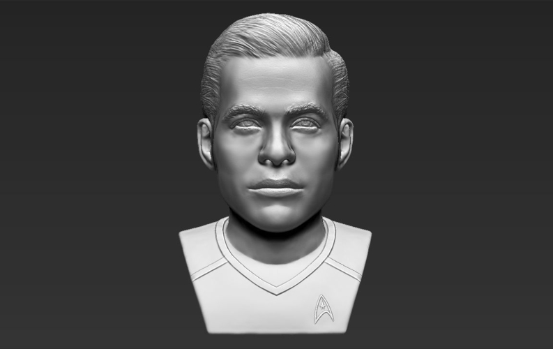 Captain Kirk Chris Pine Star Trek bust full color 3D printing 3D Print 231051