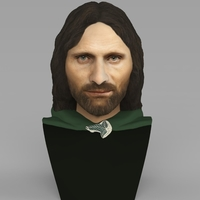 Small Aragorn bust Lord of the Rings for full color 3D printing 3D Printing 231117
