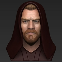 Small Obi Wan Kenobi Star Wars bust ready for full color 3D printing 3D Printing 231248