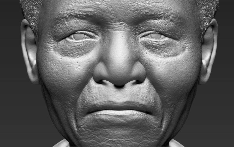 Nelson Mandela bust ready for full color 3D printing 3D Print 232060