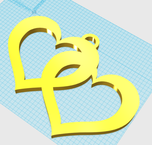 Double Floating Hearts Pendant 3D Print 23245