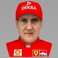 Small Michael Schumacher bust ready for full color 3D printing 3D Printing 232568