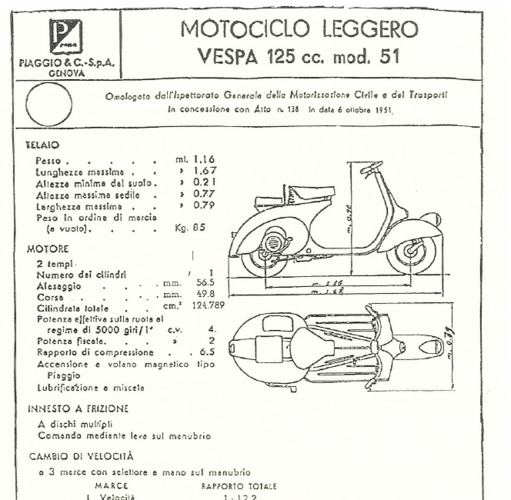 VESPA PIAGGIO 125 - 1951 FIRST MODEL 3D Print 233485