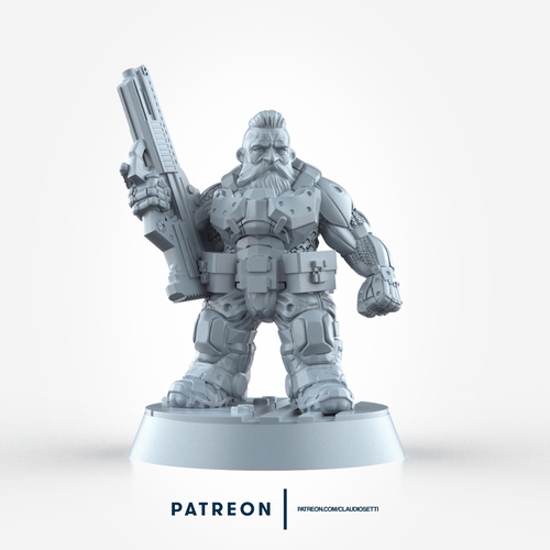 Space Dwarf Miniature - 28mm Scale 3D Print 234418