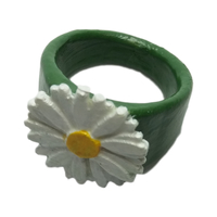 Small Ring with embossed daisy  3D Printing 234495