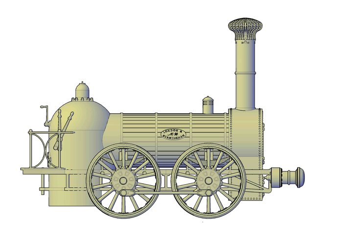 1836 Bury goods locomotive 3D Print 234661