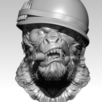 Small Angry Soldier Monkey Bust with Sigar 3D Printing 234870