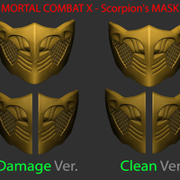 Small Mortal Kombat X - Scorpion mask For Cosplay 3D Printing 235918