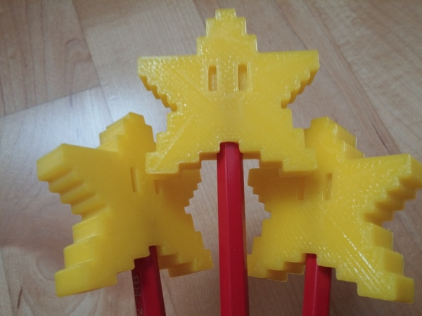 Medium Pixel Star Pen Topper 3D Printing 23720