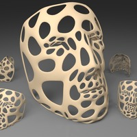 Small Polygon Mask - Voronoi Style (single walled, thicker and flat bo 3D Printing 23760