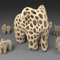 Small Elephant - Voronoi Style 3D Printing 23770