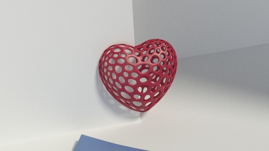 Heart with slot on one side - Voronoi Style 3D Print 23794