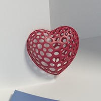 Small Heart with slot on one side - Voronoi Style 3D Printing 23794