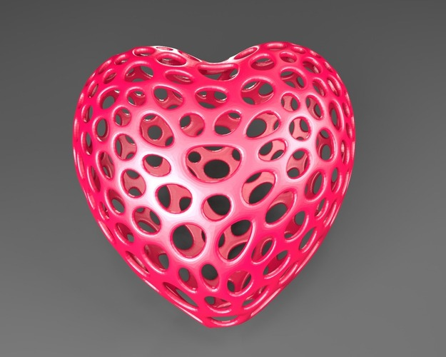 Heart with slot on one side - Voronoi Style 3D Print 23795