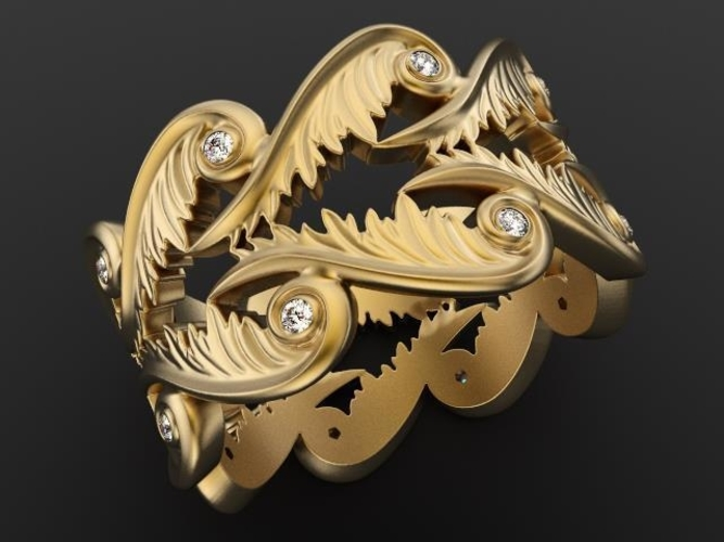 Baroque Ring Hearts Wings 3D Print 237959