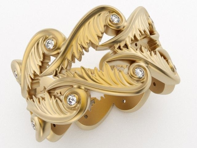 Baroque Ring Hearts Wings 3D Print 237960