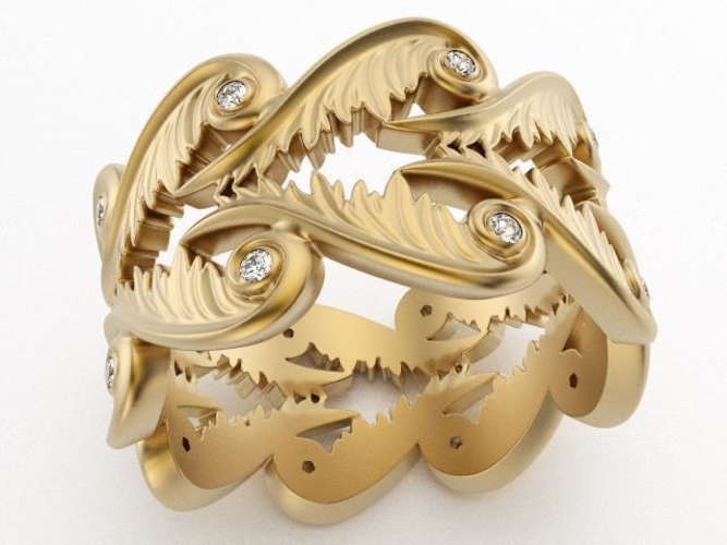 Baroque Ring Hearts Wings 3D Print 237961
