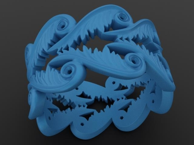 Baroque Ring Hearts Wings 3D Print 237962