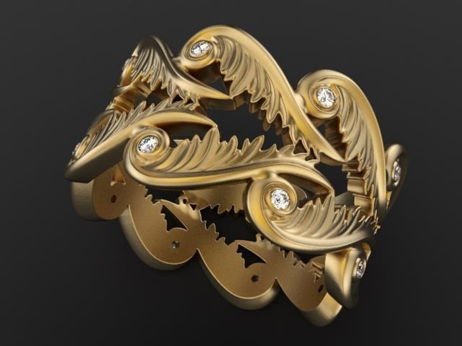 Baroque Ring Hearts Wings 3D Print 237963