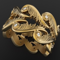 Small Baroque Ring Hearts Wings 3D Printing 237963
