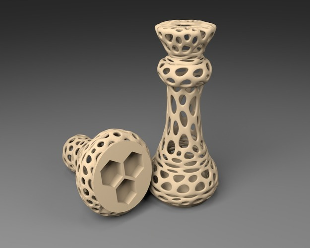 3xM10: Voronoi Chess Set with inlets for 3 x M10 Nuts 3D Print 23816