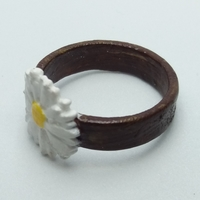 Small Ring with embossed and overflowing daisy  3D Printing 238182