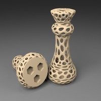 Small 3xM8: Voronoi Chess Set with inlets for 3 x M8 Nuts 3D Printing 23820