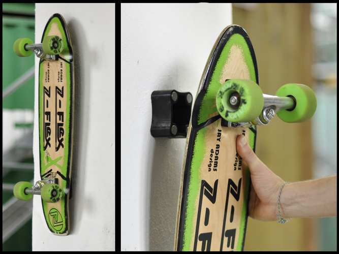 Wunderbar Magnetic Skateboard/Longboard Holder (Metric) 3D Print 23899