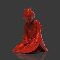 Small Sad Geisha 3D Sculpture 3D Printing 239084