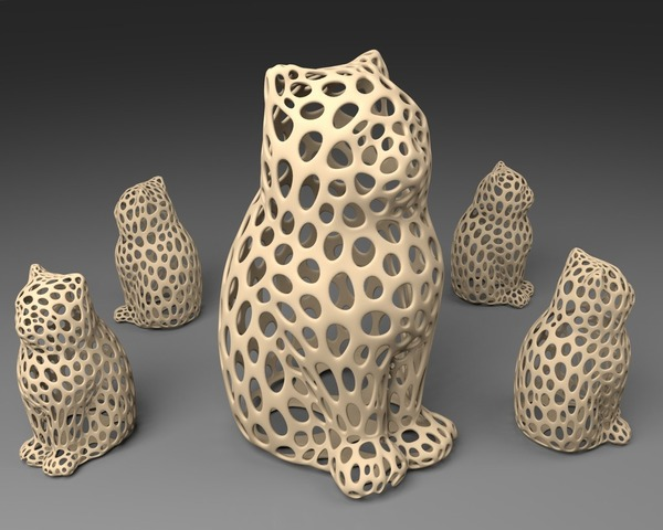 Medium LASER CAT - Voronoi Style 3D Printing 23914