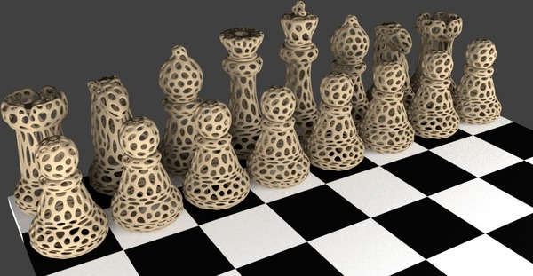 Medium Chess Set - Voronoi Style 3D Printing 23917