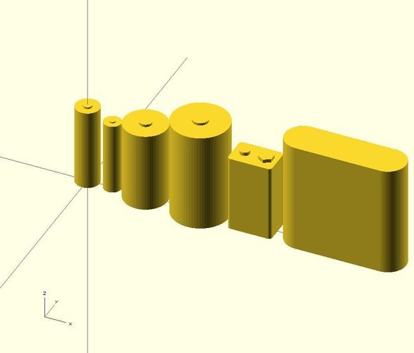 Batteries in OpenSCAD 3D Print 23946
