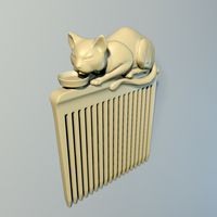 "Small Hair comb ""Cat"" 3D Printing 240152"
