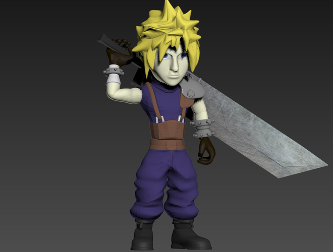 Cloud- Final Fantasy 7 3D Print 240256