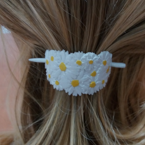 Hair Stick Barrete with embossed daisies 54x30mm  3D Print 240652