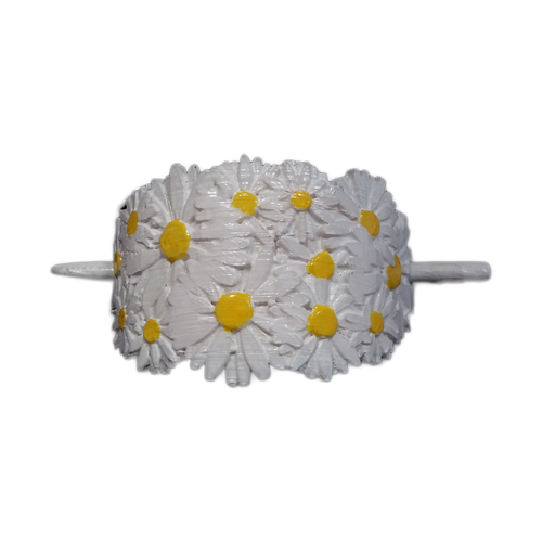 Hair Stick Barrete with embossed daisies 54x30mm  3D Print 240653