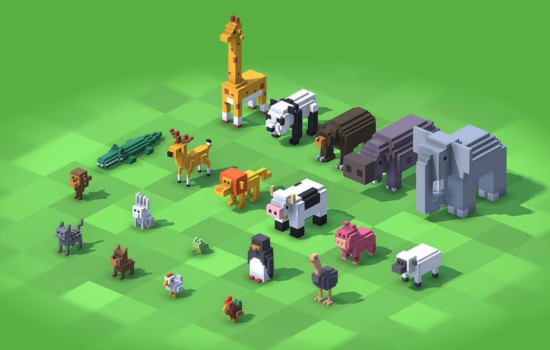 Voxel Animals 3D Print 240691