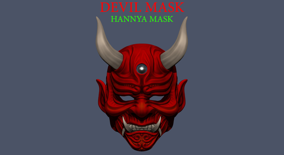 Devil Mask-Hannya Mask-Samurai Mask-Satan mask for cosplay 3D Print 241119