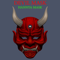 Small Devil Mask-Hannya Mask-Samurai Mask-Satan mask for cosplay 3D Printing 241119