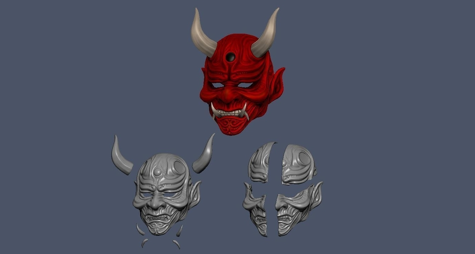 Devil Mask-Hannya Mask-Samurai Mask-Satan mask for cosplay 3D Print 241136