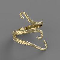 Small Octopus Ring 3D Printing 242270